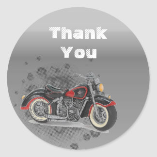 Rustic grunge Motorcyle Biker Wedding Classic Round Sticker