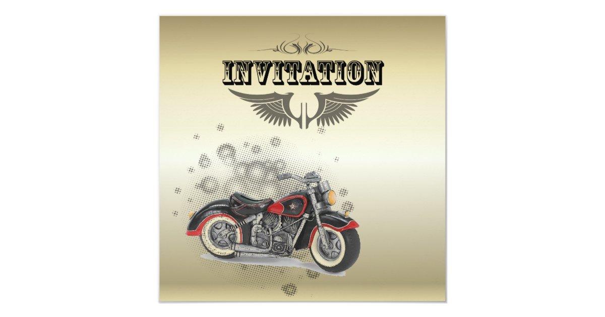 Biker Wedding Invitations: Rustic Grunge Motorcyle Biker Wedding Invitation