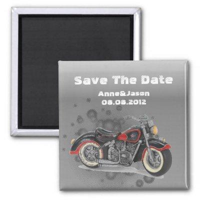 Rustic grunge Motorcyle Biker Wedding Magnet