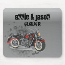 Rustic grunge Motorcyle Biker Wedding Mouse Pad