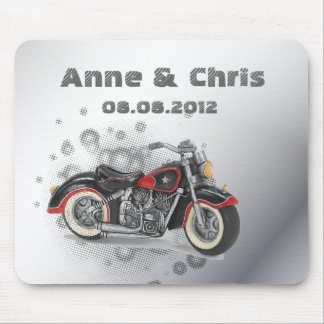 Rustic grunge Motorcyle Biker Wedding Mouse Pad