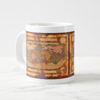 Rustic Grunge Old World Map Jumbo Soup Mug Extra Large Mug