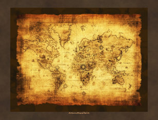 Rustic old world map art framed artwork zazzle rustic grunge old world map poster large gumiabroncs Images