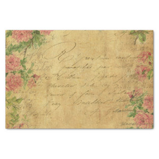 "Rustic,grunge,paper,vintage,floral,text,roses,rose 10"" X 15"" Tissue Paper"