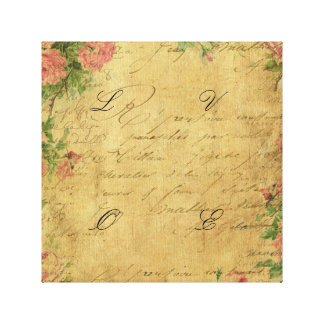 Rustic,grunge,paper,vintage,floral,text,roses,rose Canvas Print