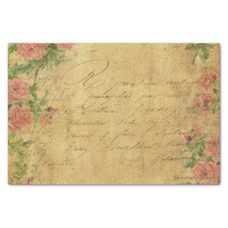 "Rustic,grunge,paper,vintage,floral,text,roses,rose 10"" X 15"" Tissue Paper"