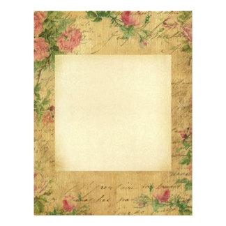 Rustic,grunge,paper,vintage,floral,text,roses,rose Letterhead