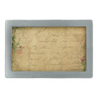 Rustic,grunge,paper,vintage,floral,text,roses,rose Rectangular Belt Buckle