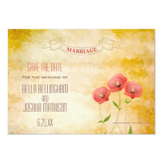 Rustic Grunge Poppies Save the Date Card