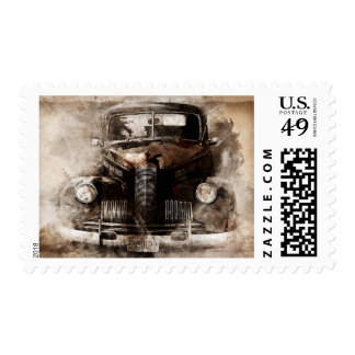 Rustic Grunge Retro Vintage Automobile Car Stamp