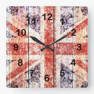 rustic grunge union jack on wood background square wall clock