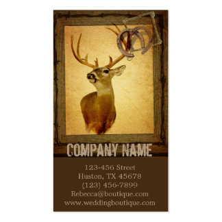 rustic grunge vintage barn wood  hunter deer Double-Sided standard business cards (Pack of 100)