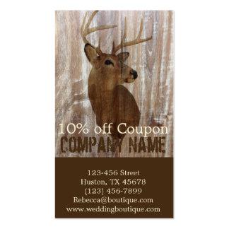 rustic grunge vintage wood grain hunter buck deer business card