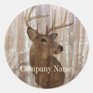 rustic grunge vintage wood grain hunter buck deer classic round sticker