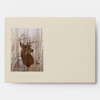 rustic grunge vintage wood grain hunter buck deer envelope