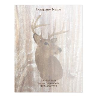 rustic grunge vintage wood grain hunter buck deer letterhead