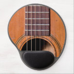 "Rustic guitar gel mouse pad<br><div class=""desc"">Detail guitar photo of strings and sound hole on a worn acoustic guitar.</div>"
