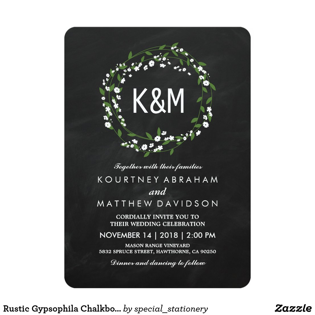 Chalkboard Baby's Breath Wedding Invitations