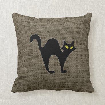 Halloween Themed Rustic Halloween Spooky Angry Black Cat Burlap Throw Pillow