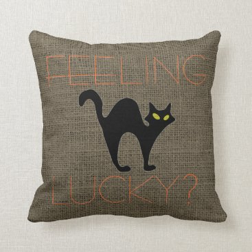 Halloween Themed Rustic Halloween Spooky Black Cat Burlap Throw Pillow