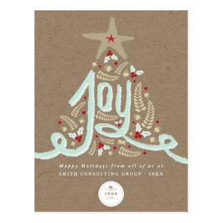 Rustic Hand Drawn Joy Business Holiday Postcard
