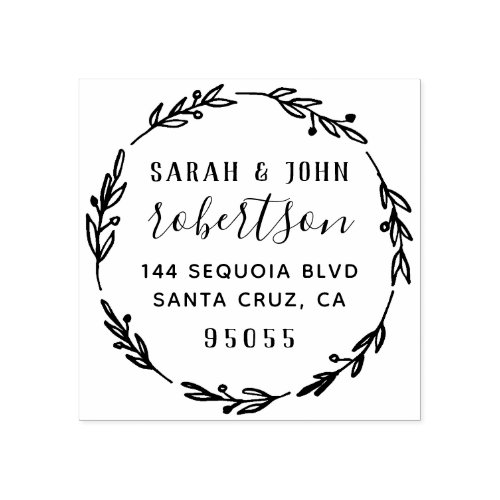 Rustic Hand Drawn Married Couple Return Address Rubber Stamp