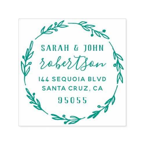 Rustic Hand Drawn Married Couple Return Address Self_inking Stamp