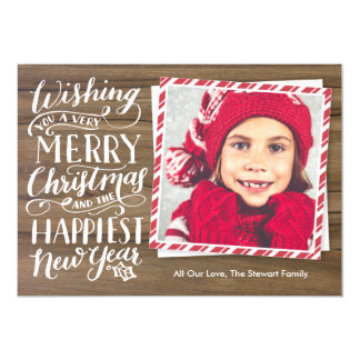 Rustic Hand Lettered Christmas 5x7 Paper Invitation Card