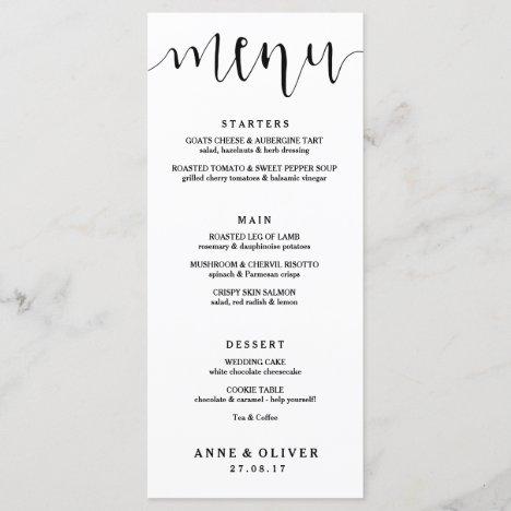 Rustic Hand Lettered Wedding Menu Card