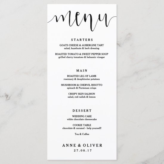 Rustic Hand Lettered Wedding Menu Card