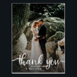 """Rustic Hand Lettered Wedding Photo Thank You Postcard<br><div class=""""desc"""">Stylish wedding thank you postcard template featuring a photo on the front with the text """"Thank You"""" in a modern script font in white on top of the picture. Custom thank you message and returning address on the back of the card. Elegant and rustic design.</div>"""