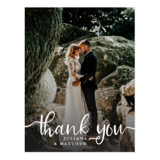 Rustic Hand Lettered Wedding Photo Thank You Postcard