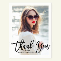 Rustic Hand Lettering Photo Graduation Thank You Postcard