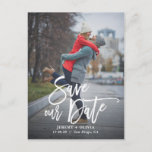 """Rustic Hand Lettering Photo Save Our Date Postcard<br><div class=""""desc"""">A stylish vertical save the date postcard featuring rustic modern calligraphy. Personalise this card by adding your own photo and details. A flat card version is available.</div>"""