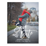 Rustic Hand Lettering Photo Save Our Date Postcard<br><div class='desc'>A stylish vertical save the date postcard featuring rustic modern calligraphy. Personalise this card by adding your own photo and details. A flat card version is available.</div>