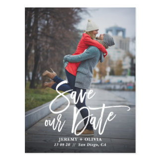 Rustic Hand Lettering Photo Save Our Date Postcard