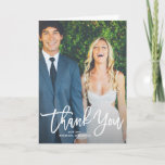 """Rustic Hand Lettering Photo Wedding Thank You Card<br><div class=""""desc"""">Give thanks to your family and friends with this rustic photo wedding thank you card featuring white script. Customize this folded card by adding your own photo and details. This will also be perfect for graduations and other events.</div>"""
