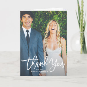 rustic hand lettering photo wedding thank you card - Wedding Thank You Cards