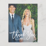 """Rustic Hand Lettering Photo Wedding Thank You Postcard<br><div class=""""desc"""">Give thanks to your family and friends with this rustic photo wedding thank you postcard featuring white script. Customize this postcard by adding your own photo and details.</div>"""
