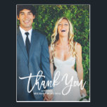 "Rustic Hand Lettering Photo Wedding Thank You Postcard<br><div class=""desc"">Give thanks to your family and friends with this rustic photo wedding thank you postcard featuring white script. Customize this postcard by adding your own photo and details.</div>"