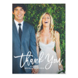 Rustic Hand Lettering Photo Wedding Thank You Postcard<br><div class='desc'>Give thanks to your family and friends with this rustic photo wedding thank you postcard featuring white script. Customize this postcard by adding your own photo and details.</div>