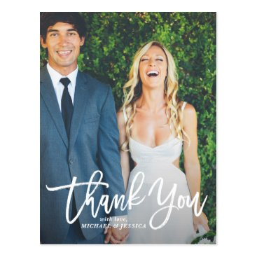 misstallulah Rustic Hand Lettering Photo Wedding Thank You Postcard