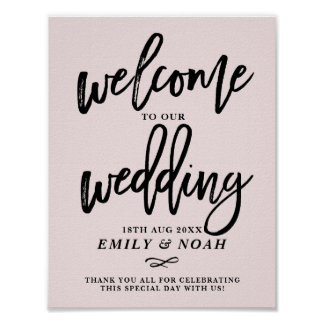 Rustic Hand Lettering Pink Welcome to Our Wedding Poster