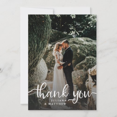 Rustic Hand Lettering Wedding Photo Thank You Card