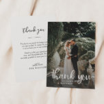 """Rustic Hand Lettering Wedding Photo Thank You Card<br><div class=""""desc"""">Stylish wedding thank you card template featuring a photo on the front with the text """"Thank You"""" in a modern script font in white on top of the picture. Custom thank you message on the back of the card. Elegant and rustic design.</div>"""