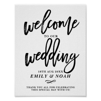 Welcome to our wedding posters zazzle rustic hand lettering welcome to our wedding poster junglespirit Choice Image