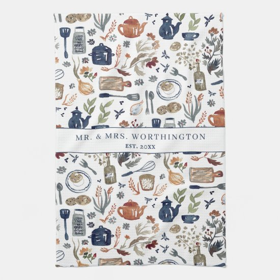 Rustic Hand Painted Country Kitchen Monogram Tea Kitchen Towel