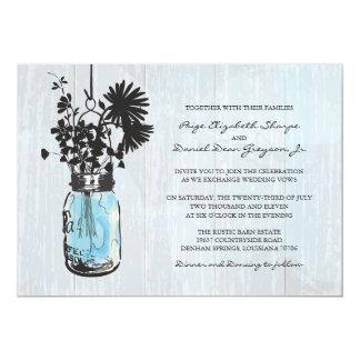 Rustic Hanging Blue Mason Jar Wedding Card
