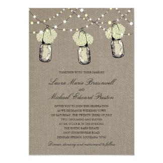 Rustic Hanging Mason Jar Hydrangea Wedding Custom Announcement