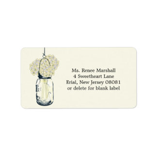 Rustic Hanging Mason Jar Hydrangeas Address Label